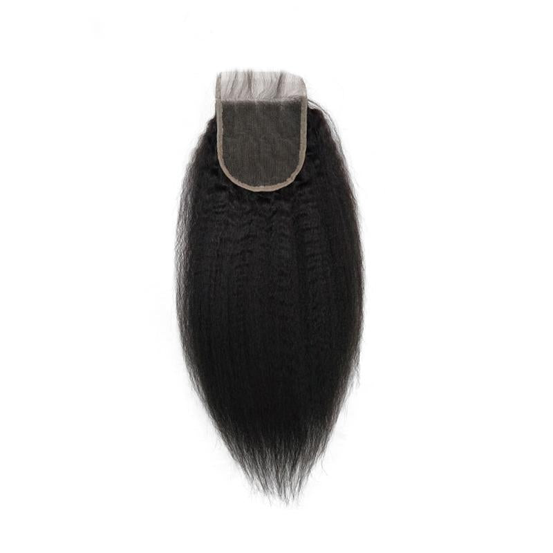 wholesale raw human hair 4x4 Lace Closure kinky straight vendor-Tenlon
