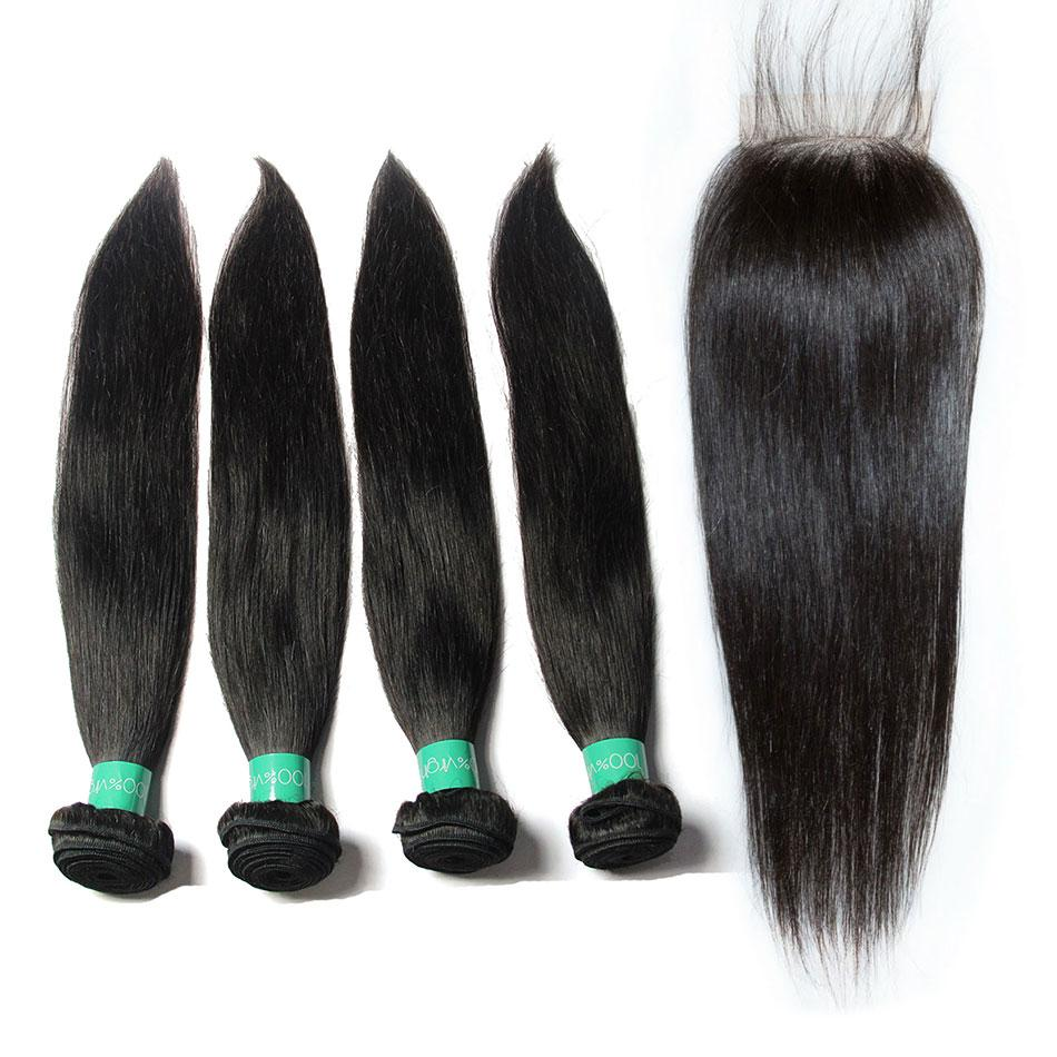 indian cheap straight human hair 4 bundles with closure vendors-Tenlon