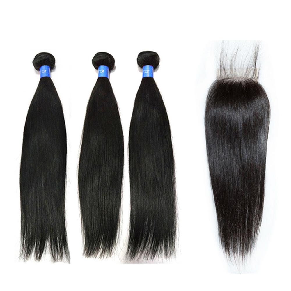 Malaysian wholesale human hair weave 3 bundles with lace closure-Tenlon