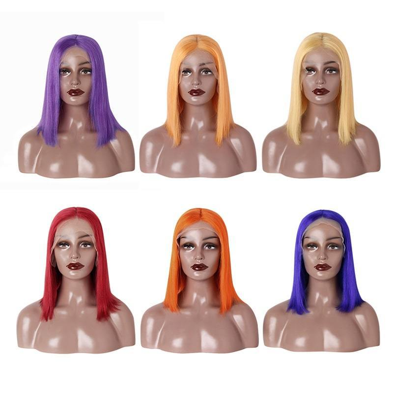 straight bob wigs colored 13x6 Remy virgin Hair lace front wig-Tenlon