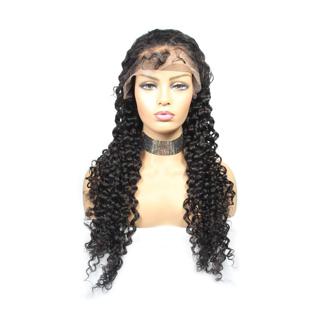curly wigs cuticle aligned lace front natural color wig wholesale-Tenlon