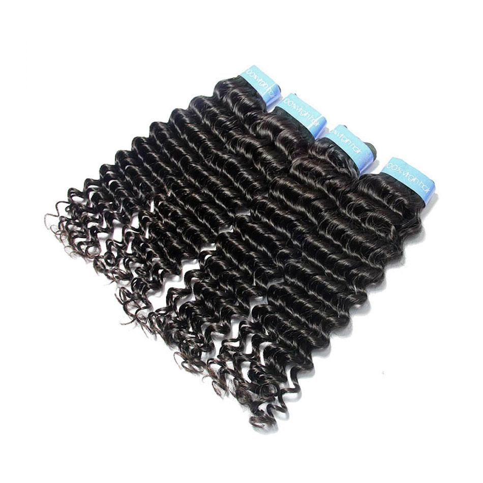 Malaysian deep wave cuticle aligned hair 4 bundles with closure-Tenlon