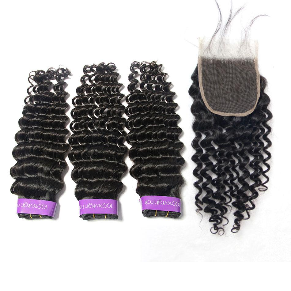 peruvian Deep wave 100% human hair weave 3 bundles with closure-Tenlon