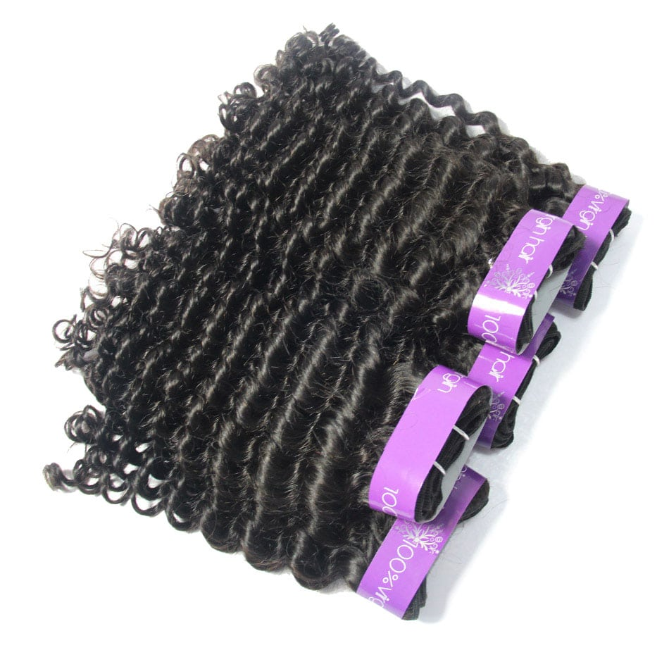 Cuticle Aligned Virgin Human Hair Raw Peruvian Curly 4Bundles |TENLON