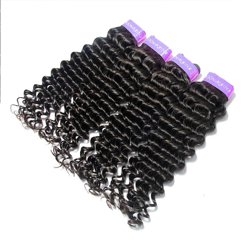 Remy Virgin Peruvian Cuticle Aligned Hair 4Bundles Deep Wave | TENLON