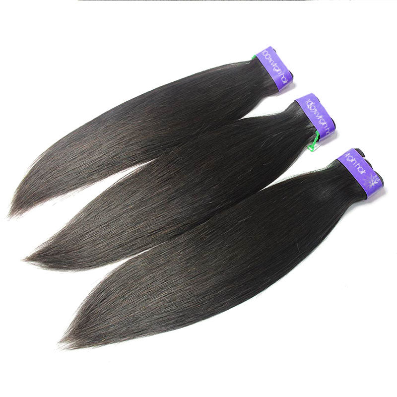 Peruvian cuticle aligned Hair Straight 3 Bundles & Closure | TENLON