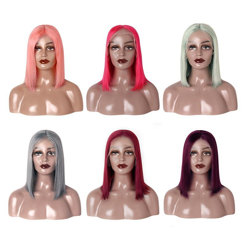 straight bob wigs 13*6 lace front wig colors 99j grey pink red-Tenlon