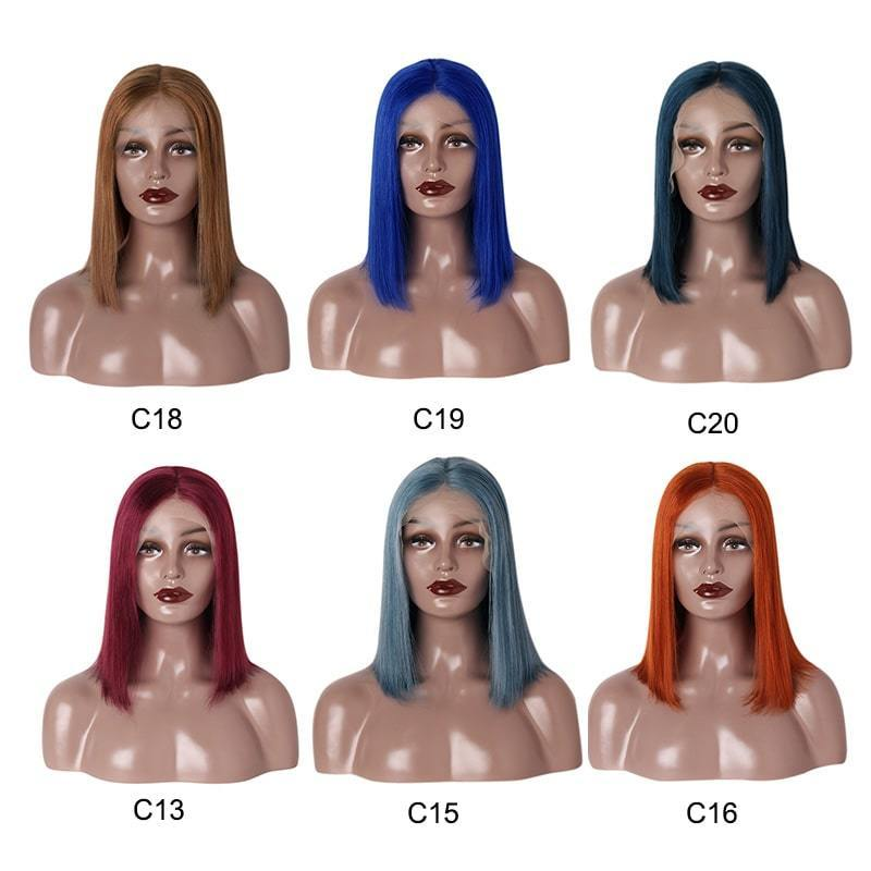 straight bob wigs 13*6 lace front wig colors blue red green brown-Tenlon