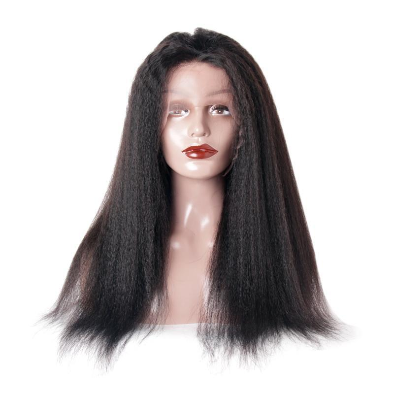 Lace front wig cuticle aligned kinky straight for black women-Tenlon