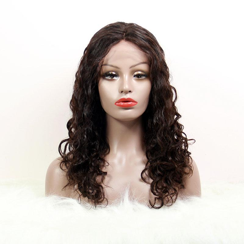italian curly wigs virgin human hair lace front natural color wig-Tenlon