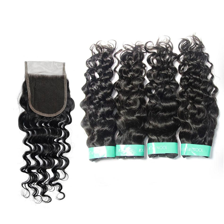 indian virgin hair Italian curly vendors 4bundles with closure-Tenlon