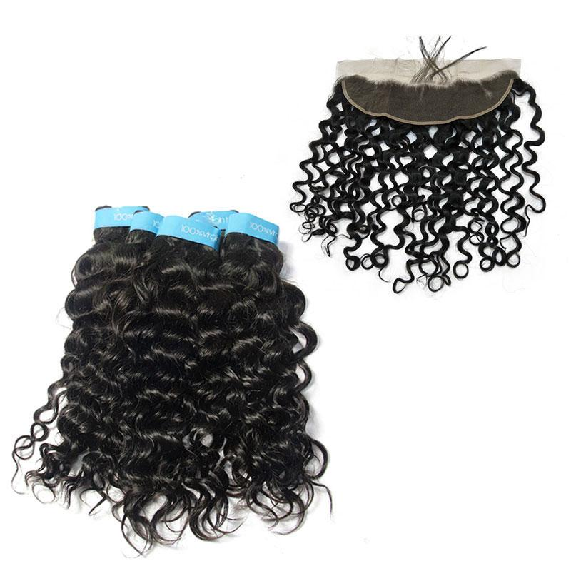 Italian curly Malaysian wholesale hair 3Bundles with lace closure-Tenlon