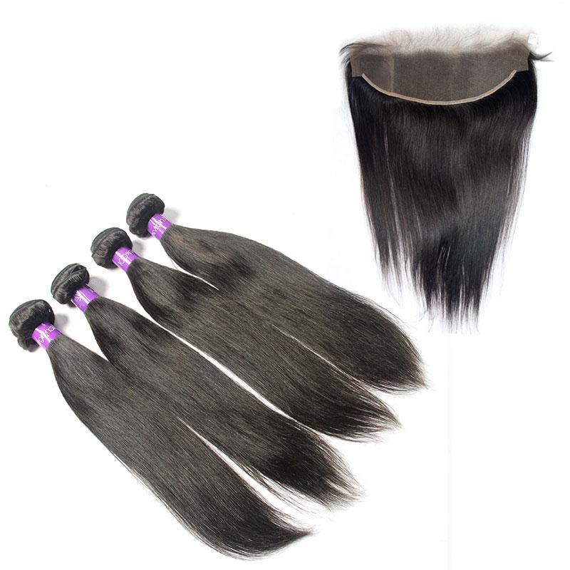 peruvian unprocessed Straight virgin hair 4 Bundles with Frontal-Tenlon