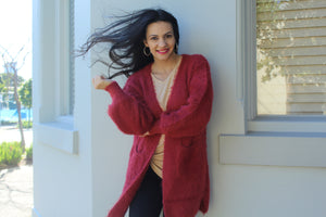 Daisy Brick Red Fluffy Cardi