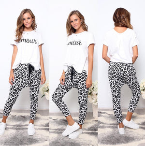 Billie Joggers Gray Leopard