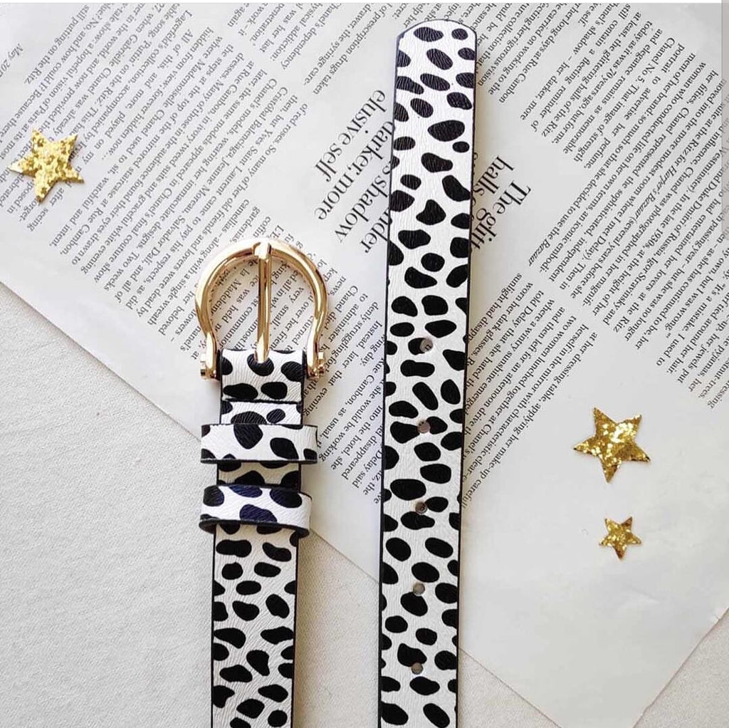 Jacob White Leopard Print Belt