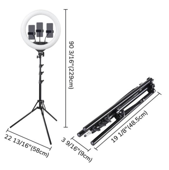 "18"" Ring Light w/ Stand, Ball Head, Phone Holder Sociallight"
