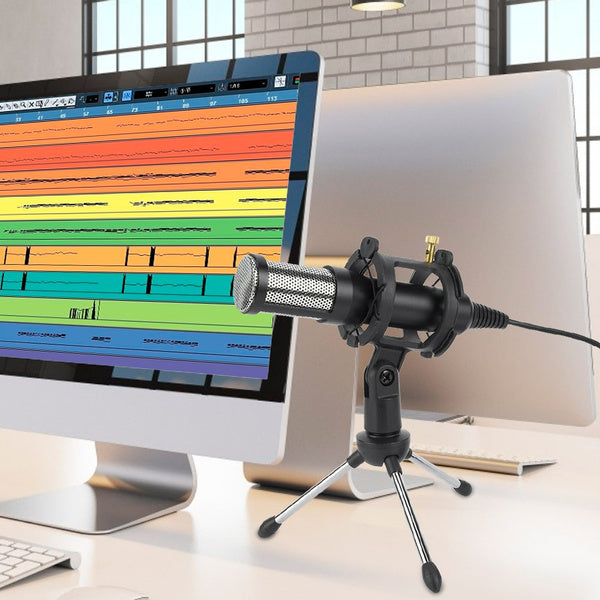 Premium Computer USB Condenser Microphone w/ Tripod Stand and Pop Filter
