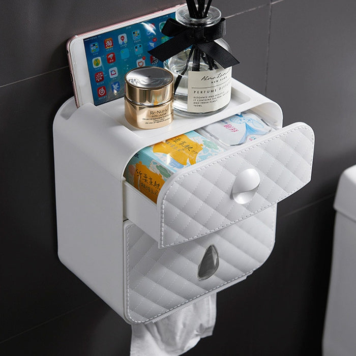 ToiletStation™ Premium Wall Mount Toilet Paper Holder with Shelf