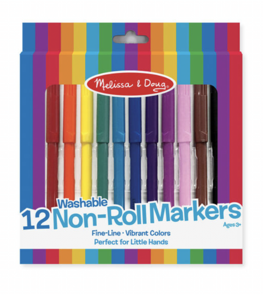 Melissa and Doug - 12 Washable Non-Roll Markers