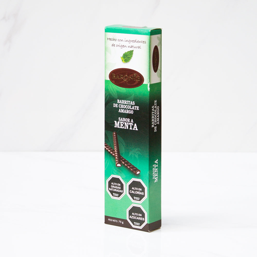 24 Chocolates amargo menta stick Baronie 75 gr c/u