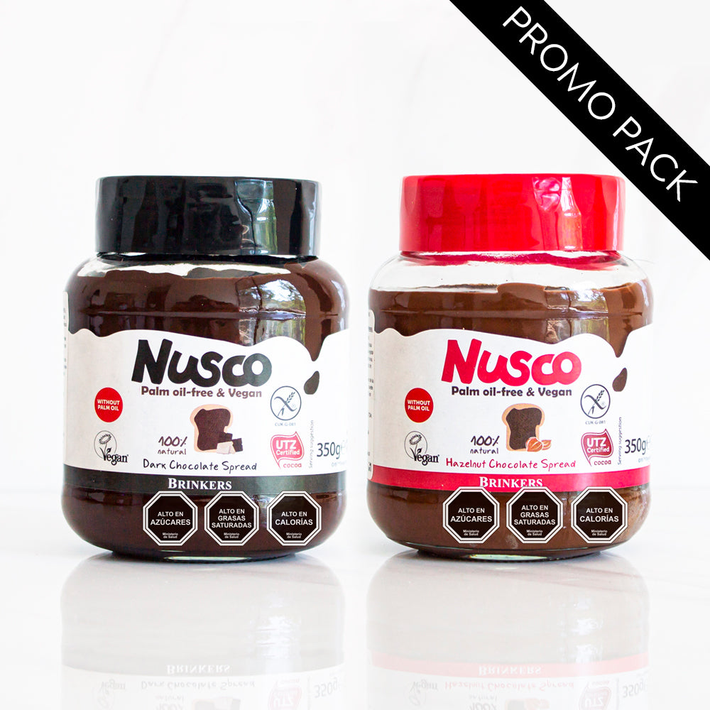 Pack Crema de Chocolate Dark y Crema de chocolate Avellana Nusco 350 gr c/u