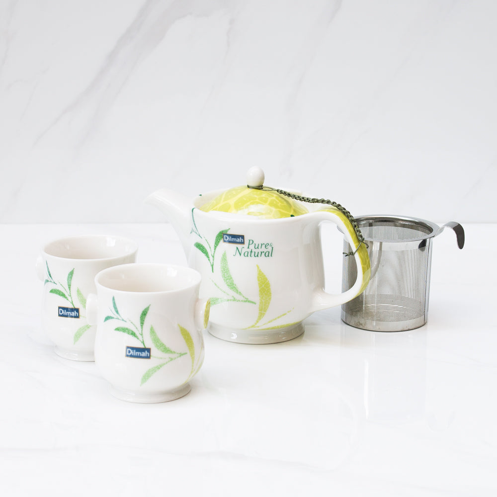 Set de Tetera porcelana fina más dos mugs 400 ml