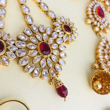 Load image into Gallery viewer, Gold zirconia red 7 piece Indian bridal set necklace jhumka earrings tikka handpiece