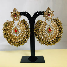 Load image into Gallery viewer, Antique gold ball red polki statement earrings