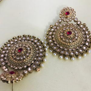 Gold pearl ruby large statement earrings