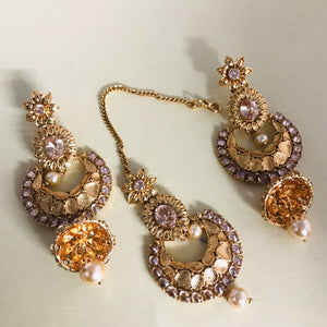 Gold polki Kundan pearl jhumka earrings and tikka set