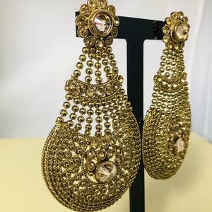 Antique gold statement strand earrings
