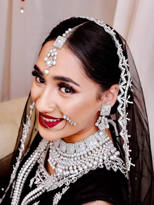 Silver pearl zirconia Indian bridal Pakistani jewellery