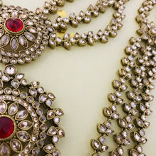 Load image into Gallery viewer, Gold red and pearl zirconia Indian bridal jewellery set