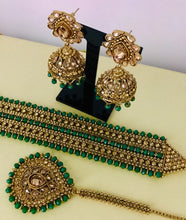 Load image into Gallery viewer, Antique gold green choker necklace jhumka earrings tikka set