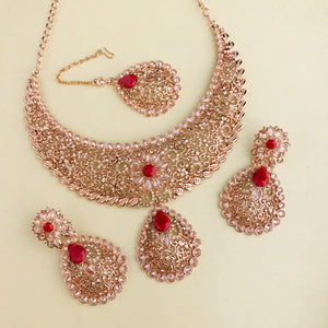 Rose gold and red necklace earrings tikka set