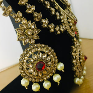 Gold red and pearl zirconia Indian bridal jewellery set