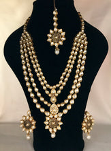 Load image into Gallery viewer, Gold pearl kundan necklace earrings tikka set