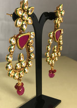 Load image into Gallery viewer, Gold kundan ruby bali earrings