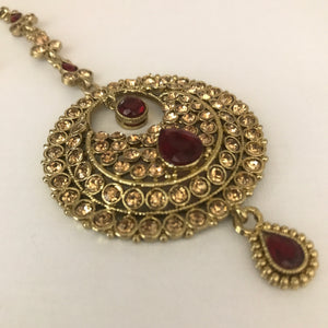 Antique gold and maroon earrings tikka set
