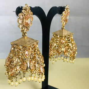 Gold pearl jhumka earrings zirconia Indian bridal jewellery
