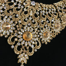 Load image into Gallery viewer, Gold diamanté necklace earrings tikka set Indian bridal jewellery