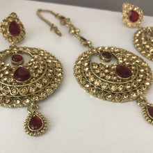 Load image into Gallery viewer, Antique gold and maroon earrings tikka set