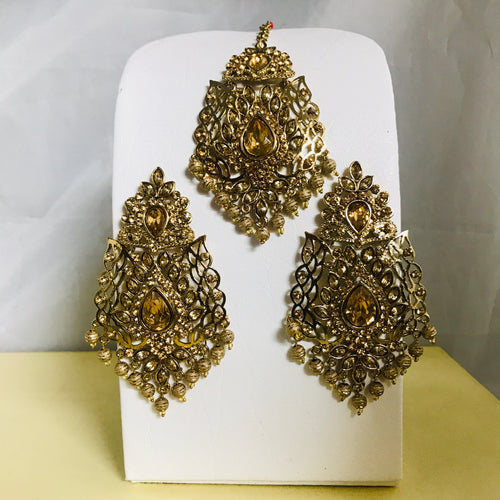 Gold bead polki earrings tikka set