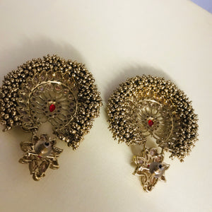 Antique gold ball red polki statement earrings