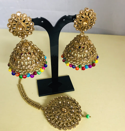 Antique gold multi colour jhumka earrings and tikka set