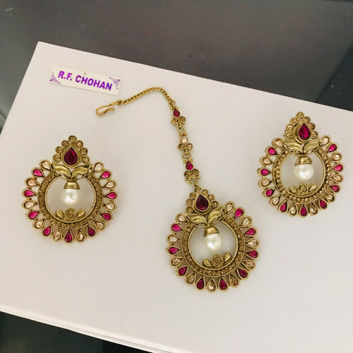 Antique gold pearl pink earrings tikka set