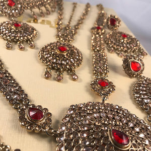 Antique gold and red indian bridal jewellery set
