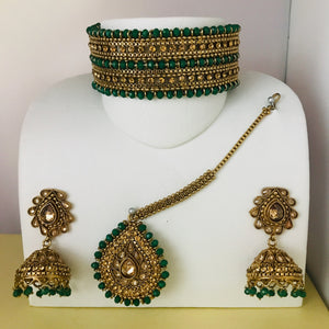 Antique gold green choker necklace jhumka earrings tikka set