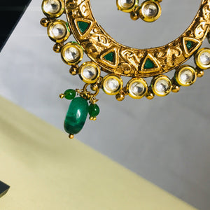 Gold kundan green bali earrings Indian jewellery